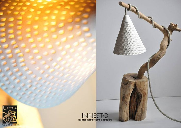 Lamps with porcelain shade   The perfect combination of porcelain and wood creates a soft glow full of mystery and wonder. #ceramic #Lampshade #ecodesign #porcelain