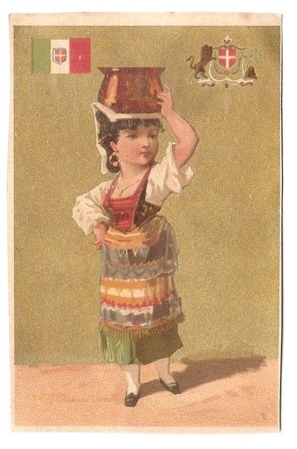 Jeune Femme - Italie Costume Drapeau  - - Chromolithographie sur Papier