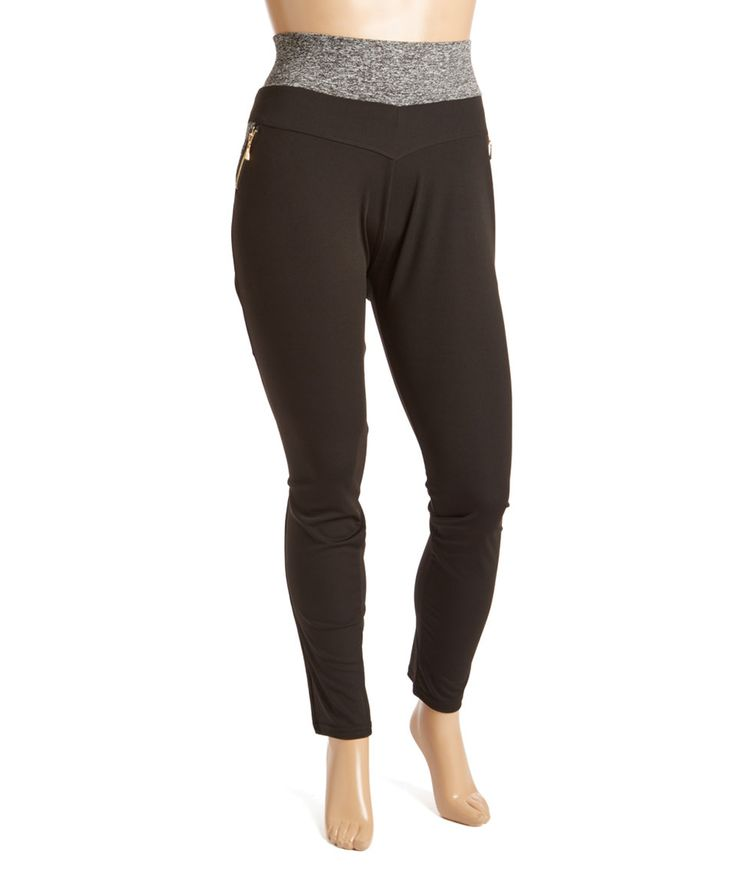 Take a look at this Black Contrast-Waist Zip-Pocket Sport Leggings - Plus today!