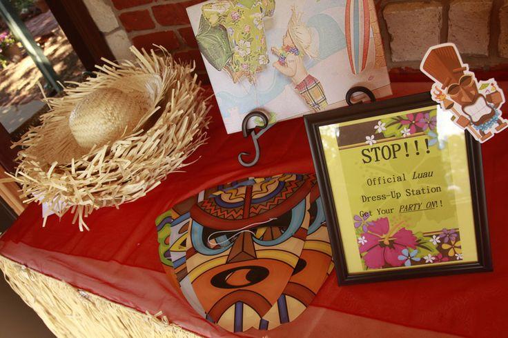 Hawaiian Luau Birthday Party! Dress up station/Photobooth Idea