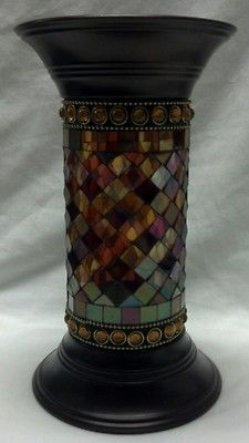 "PartyLite GLOBAL FUSION MOSAIC GLASS 9"" COLUMN PILLAR HOLDER - Pre-owned  $21.60  plus  $10 shpg"