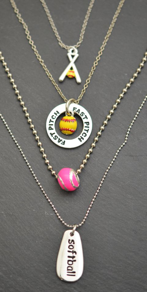From top to bottom: Crossed Softball Bats and Yellow Softball Necklace, Fast Pitch Message Ring with Enamel Softball Necklace, Neon Pink Enamel Softball Bead, and SportWORD Softball Necklace. These make great softball gifts!