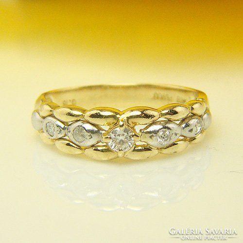 Antik 750k s sárga arany, 900 Platinum 0.15 karátos gyémánt