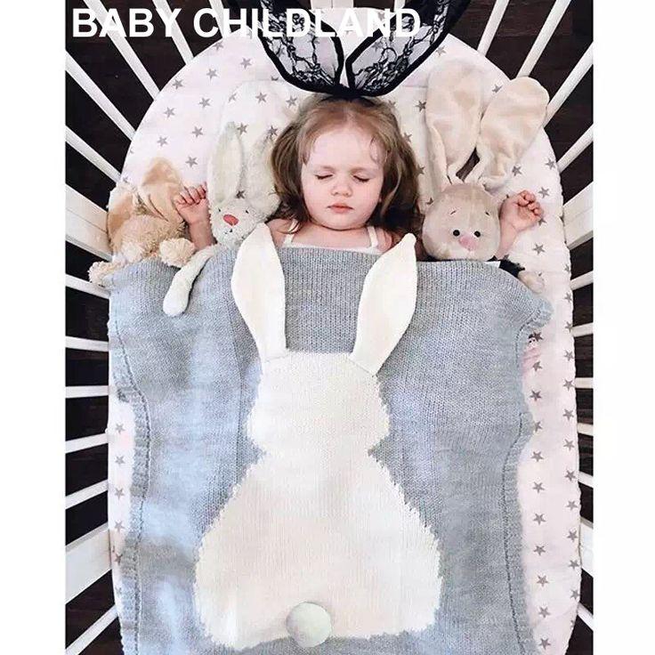 105*75 cm Tricoté Enfants Couverture main de laine mélangé doux couverture de Bébé nouveau-né de bande dessinée lapin bébé swaddle canapé jeter couverture