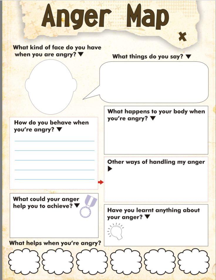 Anger map kids worksheet free printable | Therapy worksheets