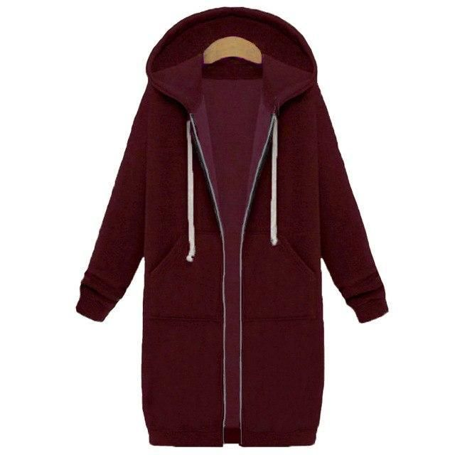 Plus Size 5XL Winter Warm Zip-up Long Hoodies Sweatshirt Women 2018liilgal
