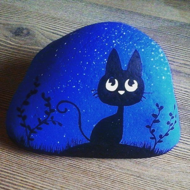 Black cat rock painting