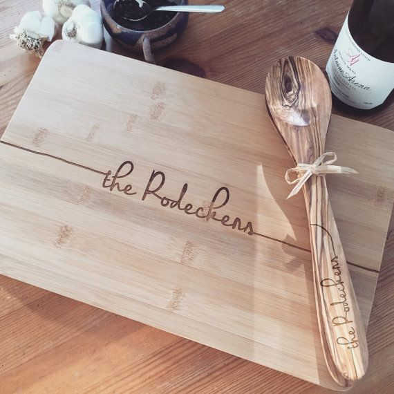 Personalized Cutting Board and Kitchen Spoons Gift Set, Custom Engraved Cutting Board and Wooden Spoon and Spatula, Wedding Gift, Gift Idea