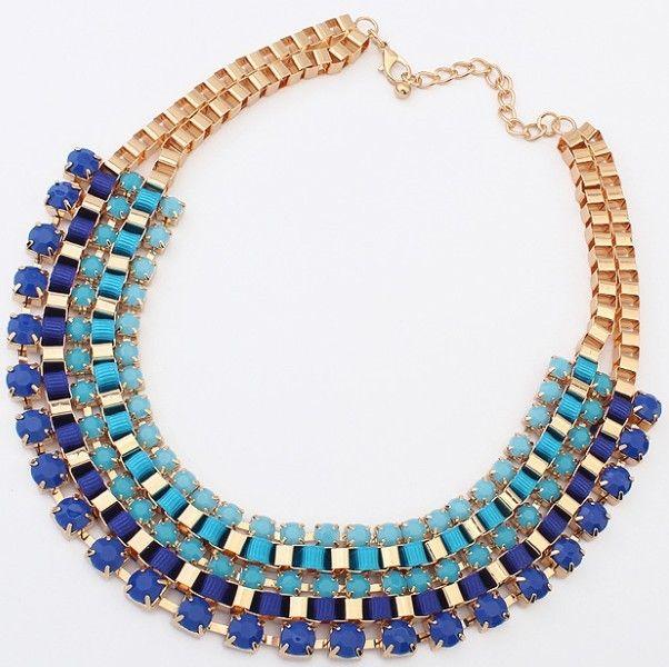 Mini Order USD10(Mixed) 3 Colors Fashion Western statement elegant Chain Colorful Rinestones  Pendant choker necklace jewelry $4.99