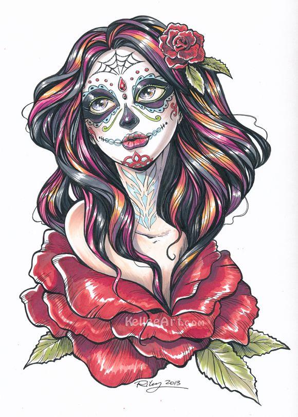 Dia de los Muertos final by KelleeArt.deviantart.com on @deviantART