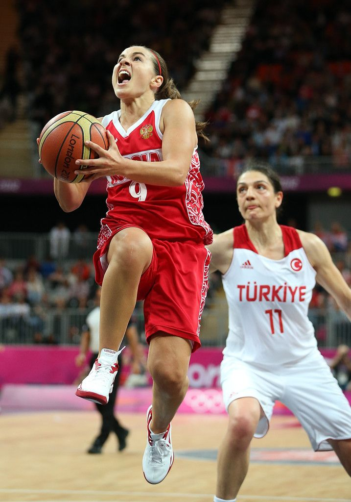 Becky Hammon #9 of Russia drives in to score the go ahead basket against Turkey during the final moments of the Women's Basketball quaterfinal on Day 11 of the London 2012 Olympic Games at the Basketball Arena on August 7, 2012 in London, England.