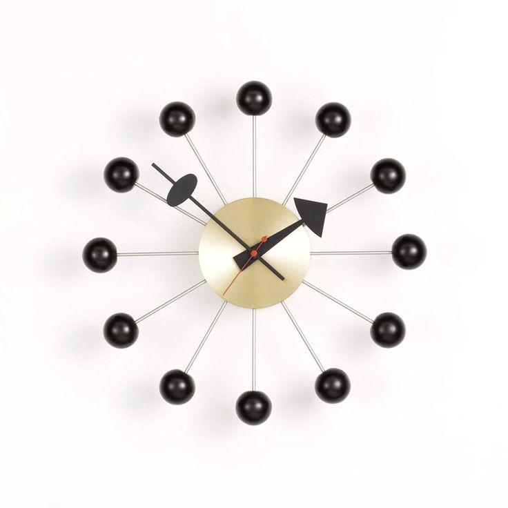 Ball Clock väggklocka, svart/mässing i gruppen Inredningsdetaljer / Klockor hos RUM21 AB (102151)