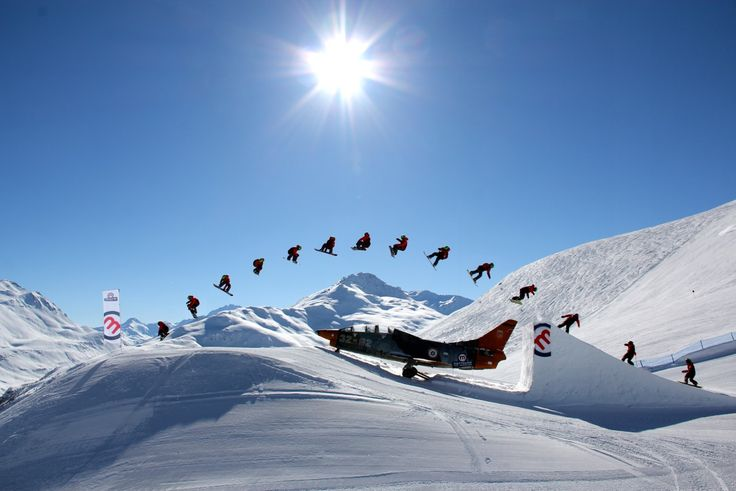 Retired Fiat G-91 placed in an snowboarding course, Snowpark Mottolino, Livigno, Sondrio, Italy