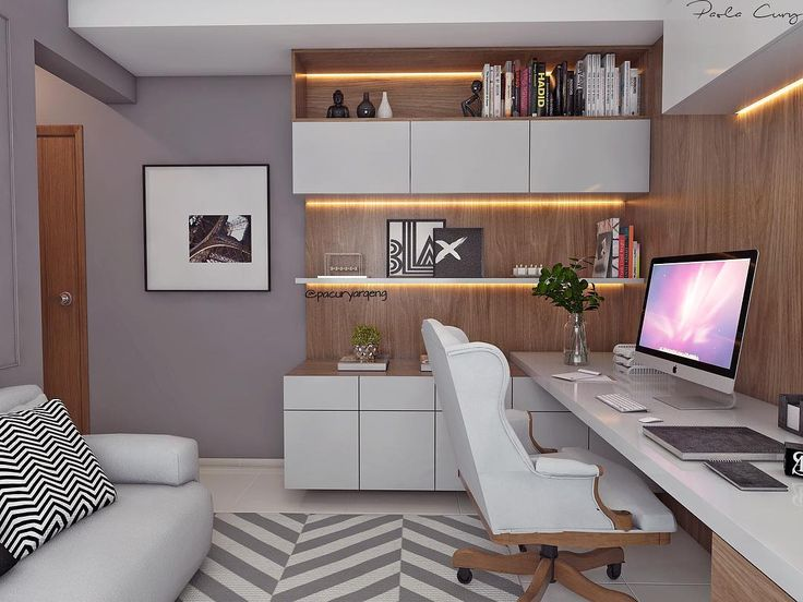 """744 curtidas, 17 comentários - Paola Cury Arq. Eng. (@pacuryarqeng) no Instagram: """"Mais uma desse home office em tons de cinza, madeira e alguns detalhes em preto. Amei! #3D #projeto…"""""""
