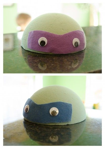 TMNT - Styrofoam balls: cut in half, spray paint turtle green, add colored mask strip and googly eyes