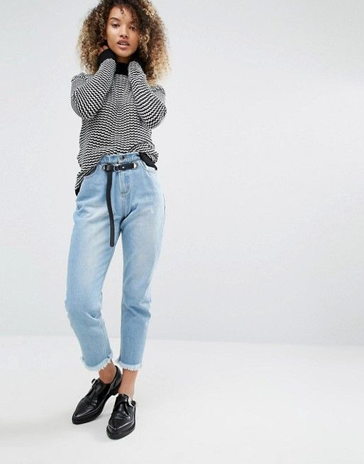 Daisy Street | Daisy Street Relaxed Jumper in Knitted Stripe with Contrast Ribbing