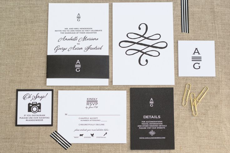 Wedding Invite suite Invitation Set Classic Wedding Black & White Invite Fancy Wedding Formal Invitations Monogram Invites Simple Set FeatheredHeartPrints