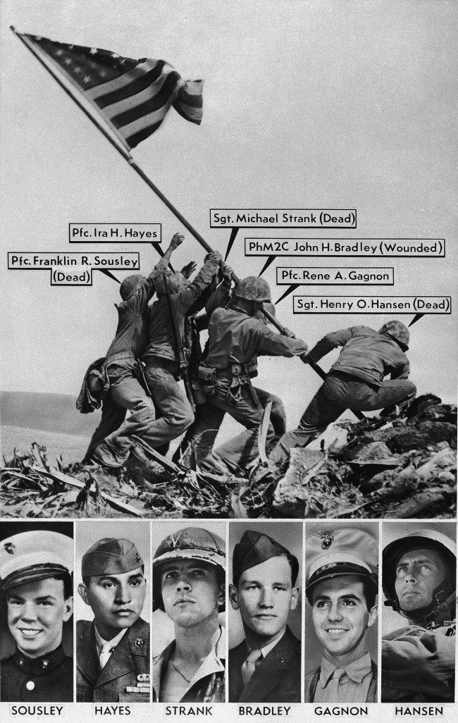 Joe Rosenthal's Pulitzer Prize winning AP photo of the Feb. 23, 1945 flag raising on Mt. Suribachi, Iwo Jima, was originally misidentified by military sources. Originally identified, from left, in this vintage graphic: Pfc. Franklin R. Sousley; Pfc. Ira Hayes; Sgt. Michael Strank; Pharmacist's Mate 2nd Class John H. Bradley; Pfc. Rene A. Gagnon; Sgt. Henry O. Hansen. The Marine at far right was later correctly identified as Cpl. Harlon Block, not Hansen.