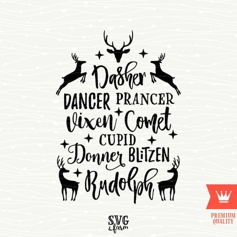 Reindeer Names Christmas SVG Decal Cutting File Merry Christmas Reindeer Transfe… – Beverly Bambulas