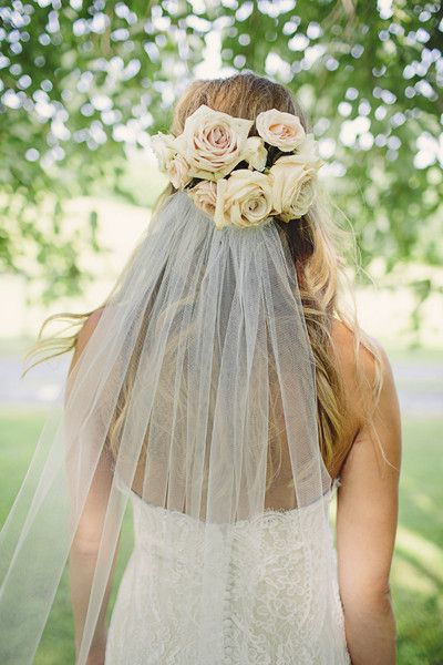 Kinda like this? Only I'd rather have something going on with the hair under the veil. Braids, one braid, something. Hair Flowers Wedding Hair & Beauty Photos on WeddingWire