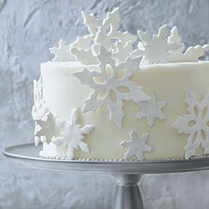 The Perfect Wintry White Cake | Fondant Snowflakes Garnish | SouthernLiving.com Dust work surface with powdered sugar.  Roll out half of 1 (24 -oz) package white fondant to 1/4 inch.  Cut fondant with snowflake or holly leaf cutters.  Transfer to baking sheets; let dry for 12 hours.  Add glimmer:  Brush garnishes lightly with vodka.  Sprinkle with edible glitter and sparkling dust.