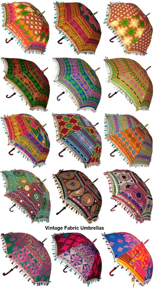 10-9-15 thursday. Raining or not raining, this is a question !! vintage fabric umbrellas from India