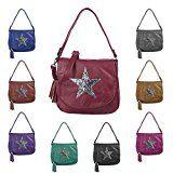 OBC ital-design Damen Stern Tasche Messenger Bag Handtasche Shopper Henkeltasche Glitzer Clutch Beuteltasche Schultertasche Umhängetasche:…