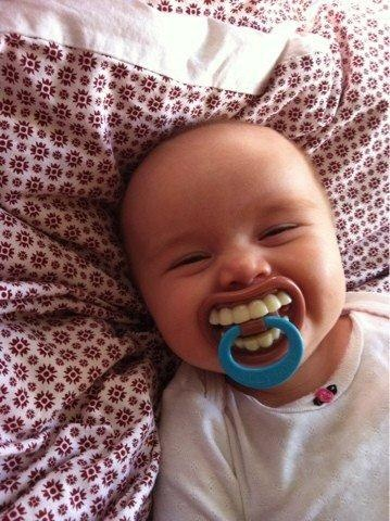 hilarious pacifier. scare your in-laws.