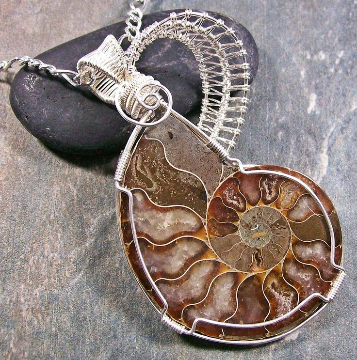 wire wrapped ammonite tutorial | ... Opalized Ammonite Fossil And Silver Wire-wrapped Pendant Jewelry