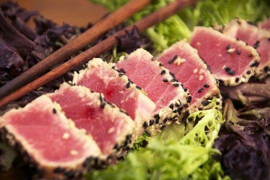 Sesame & Wasabi Seared Tuna Recipe Main Dishes with ahi tuna steaks, white vinegar, wasabi powder, black sesame seeds, white sesame seeds, wasabi, gari