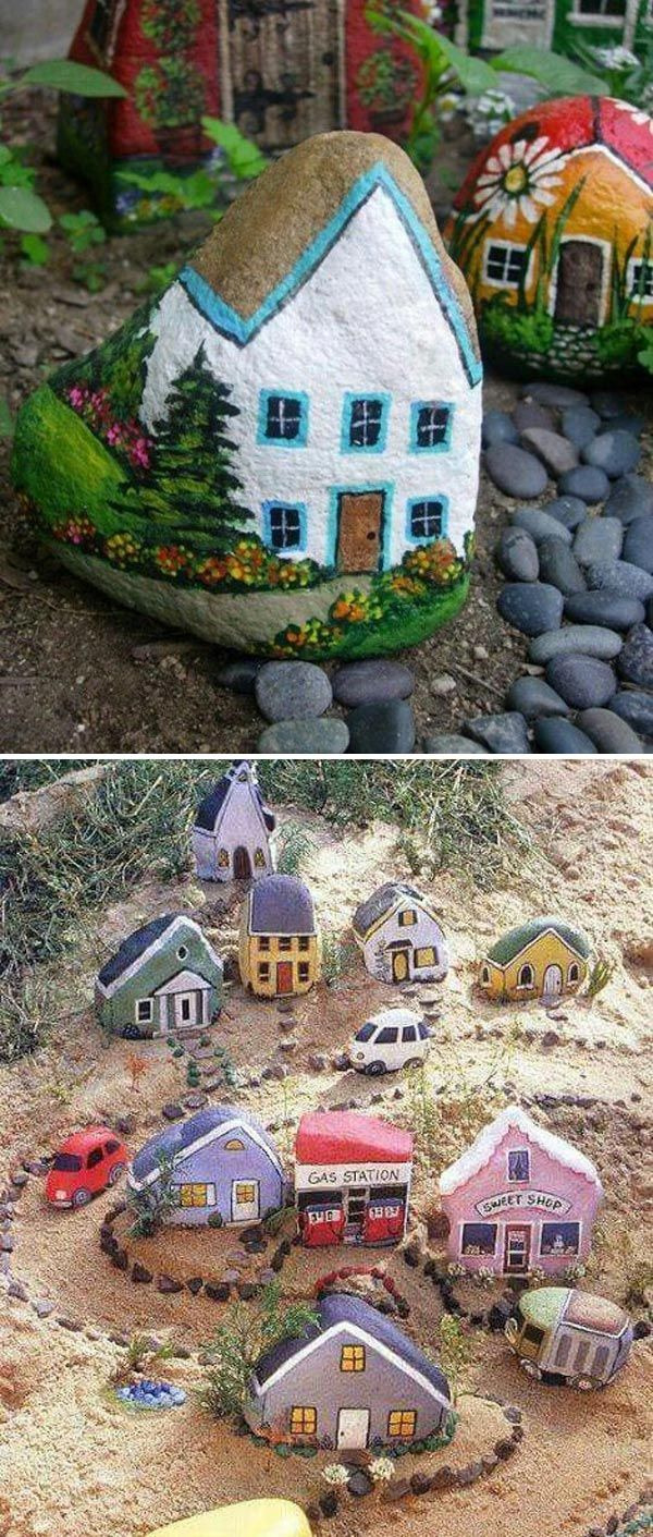 Painted Rock Houses - DIY Painted Stone Decorations You Can Do