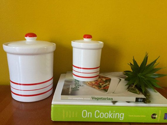 Vintage Italian Ceramic Red Stripe Canister
