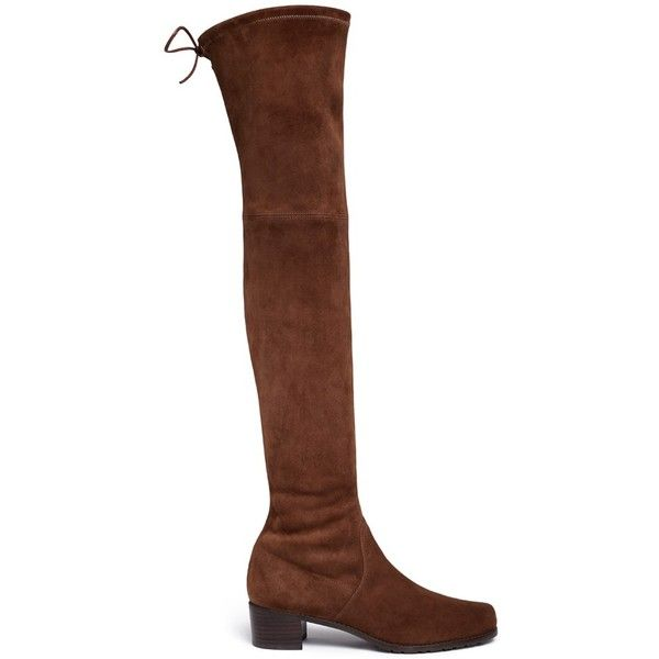 Stuart Weitzman 'Midland' stretch suede thigh high boots ($800) ❤ liked on Polyvore featuring shoes, boots, brown, thigh high boots, brown over-the-knee boots, suede thigh high boots, lace up boots and stretch over the knee boots