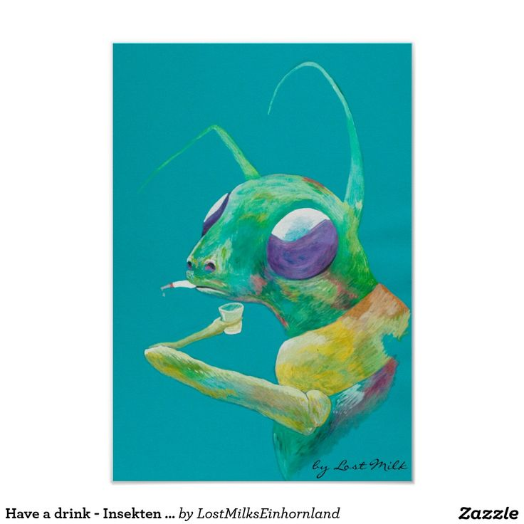 Have a drink - Insekten Grashüpfer Kunst Poster #haveadrink #insect #insekt #smoking #party #poster #posterinsect