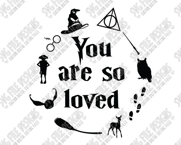 You Are So Loved Harry Potter SVG Cut File Set with Sorting Hat, Hedwig, Glasses, & Scar in SVG, EPS, DXF, JPEG, PNG for Cricut, and Silhouette