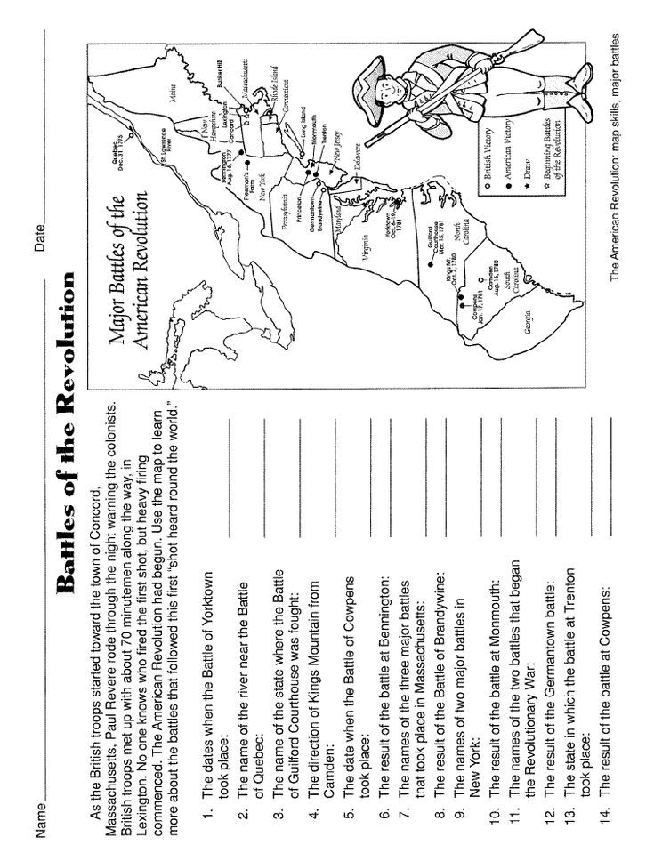 American Revolution Worksheets: RRSpace American