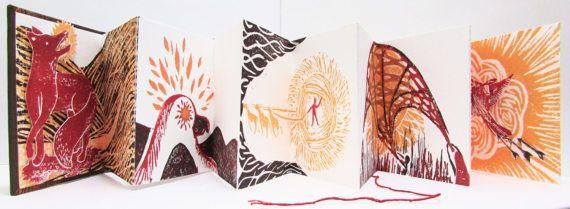 Mitos artista  Linograbado Pop libro  acordeón sol del libro