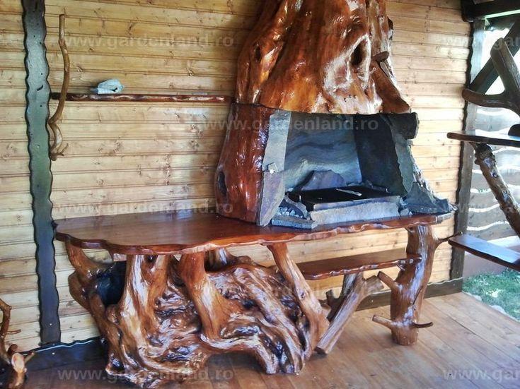 Gratar cu hota din lemn salcie captusit cu piatra lespezi si masa de lucru din trunchi carpen - DIV 063