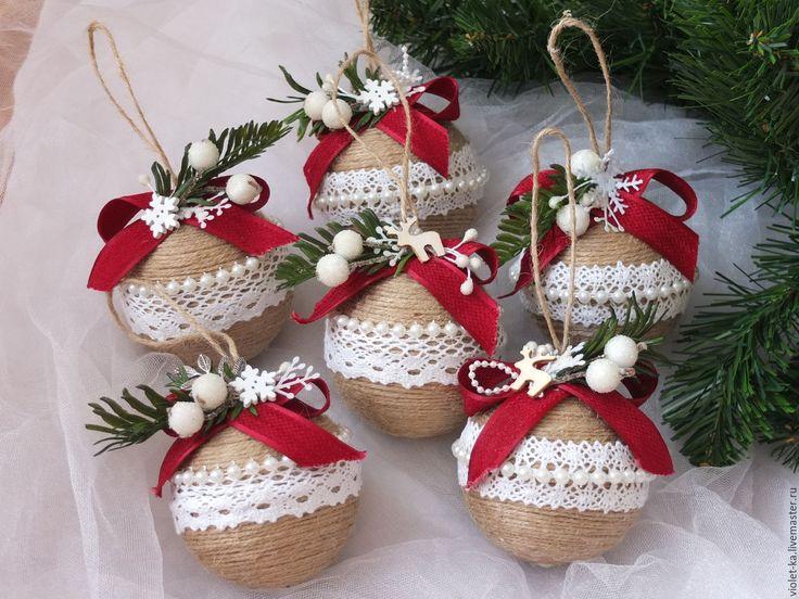 Купить Шарики в эко стиле - бежевый, новогодние шары, новогодние украшения…
