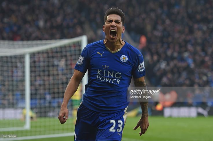 <a gi-track='captionPersonalityLinkClicked' href=/galleries/search?phrase=Leonardo+Ulloa&family=editorial&specificpeople=7433674 ng-click='$event.stopPropagation()'>Leonardo Ulloa</a> of Leicester City celebrates scoring his team's first goal during the Barclays Premier League match between Leicester City and Norwich City at The King Power Stadium on February 27, 2016 in Leicester, England.