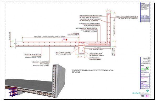 Cantilever Concrete Beam Reinforcement Detail With Adjucent Continuous Beam Parapet Reinforced Concrete Concrete Slab