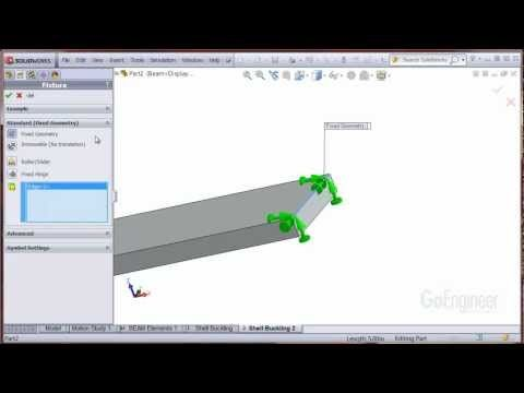 SolidWorks Simulation - Pinned-End Support (Shell Elements) - YouTube