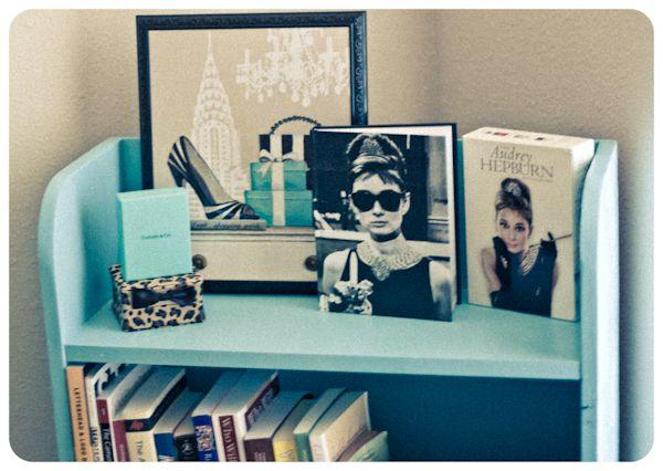 my breakfast at tiffany's themed bookshelf (work in progress)