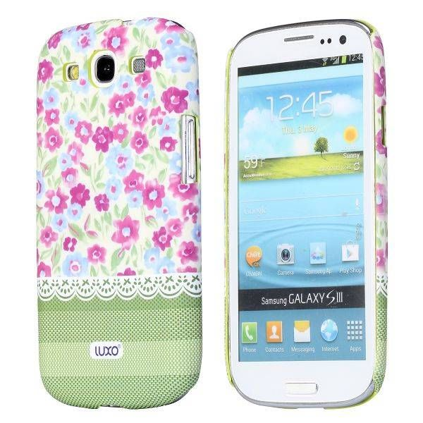 Paarse bloemen hoesje Samsung Galaxy S3