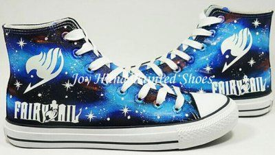 Fairy Tail Anime Shoes Galaxy Background Hand Painted Shoes Blac