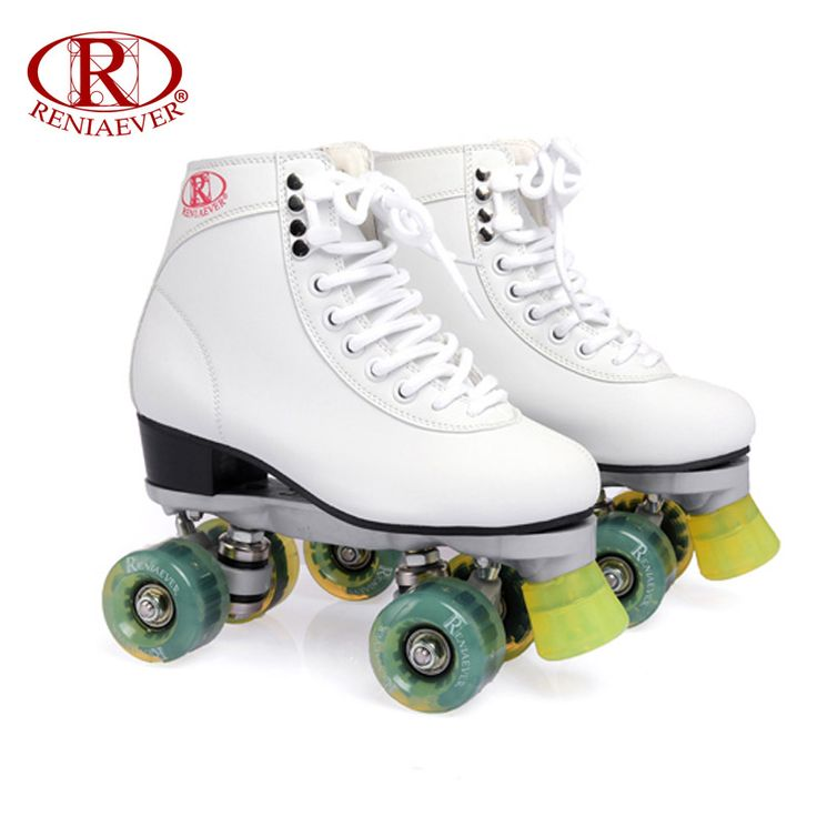 RENIAEVER Roller Skates Double Line Skates White Women Lady Adult Green Led Lighting 4 Wheels Two line Skating Shoes Patines #Affiliate