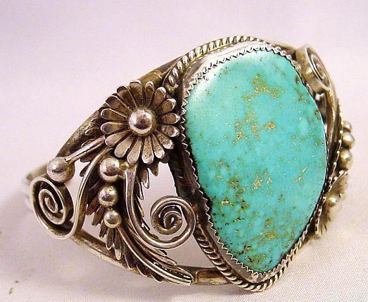 Vintage Navajo D K Lister Turquoise & Ornate Sterling Silver Cuff Bracelet35.7g
