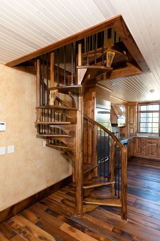 Wood Metal Spiral Stairs