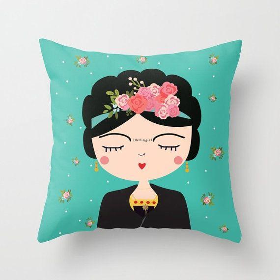 Frida Kahlo cuscino, cuscino moderno vivaio, Boho ragazze cuscino, arte popolare messicana, fodera per cuscino, Folk Decorative Throw Pillow, arte femminista