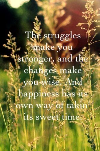 """""""The struggles make you stronger, and the changes make you wise. And happiness has it's own way of takin' its sweet time."""""""